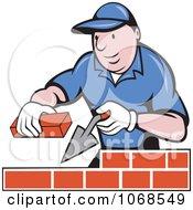 Clipart Mason Laying Bricks Royalty Free Vector Illustration by patrimonio