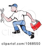Clipart Auto Mechanic Running Royalty Free Vector Illustration