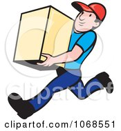 Clipart Delivery Man Running With A Box Royalty Free Vector Illustration by patrimonio