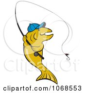 Clipart Trout Wearing A Hat And Fishing Royalty Free Vector Illustration