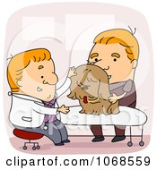Clipart Veterinarian Examining A Dog Royalty Free Vector Illustration