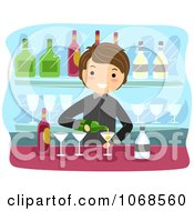 Clipart Bartender Pouring Champagne Royalty Free Vector Illustration