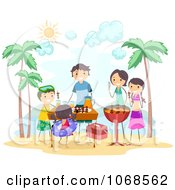 Clipart Family Having A Beach BBQ Royalty Free Vector Illustration