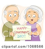 Clipart Seniors Holding A Happy Grandparents Day Card Royalty Free Vector Illustration