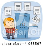 Clipart Man By A Printing Press Royalty Free Vector Illustration by BNP Design Studio