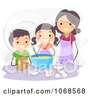 Clipart Mom And Kids Baking Royalty Free Vector Illustration