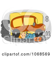 Clipart Mechanic Working Under A Car Royalty Free Vector Illustration by BNP Design Studio