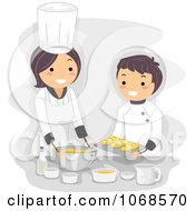 Clipart Home Economics Teacher And Boy Cooking Royalty Free Vector Illustration