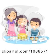 Clipart Mom And Kids Making A Cake Royalty Free Vector Illustration