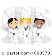 Clipart Three Happy Chefs Royalty Free Vector Illustration