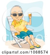 Clipart Retired Man Sun Bathing On The Coast Royalty Free Vector Illustration by BNP Design Studio
