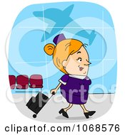 Clipart Flight Attendant In An Airport Royalty Free Vector Illustration