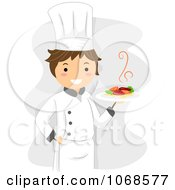 Clipart Chef Holding A Plate Royalty Free Vector Illustration