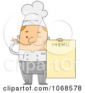 Clipart Winking Chef Holding A Menu Royalty Free Vector Illustration