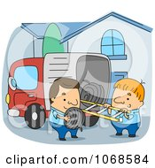 Clipart Line Installers Unloading A Truck Royalty Free Vector Illustration