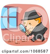 Clipart Detective Following Tracks Royalty Free Vector Illustration