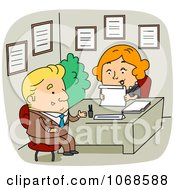 Clipart HR Rep Interviewing An Applicant Royalty Free Vector Illustration