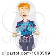Clipart Man Holding A Fathers Day Card Royalty Free Vector Illustration