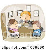 Clipart Mother And Son In The Principals Office Royalty Free Vector Illustration by BNP Design Studio