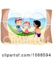 Clipart Beach Kids Playing On A Hammock Royalty Free Vector Illustration