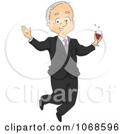 Clipart Retired Businessman Jumping With Wine Royalty Free Vector Illustration