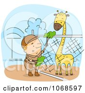 Clipart Zookeeper Feeding A Giraffe Royalty Free Vector Illustration by BNP Design Studio