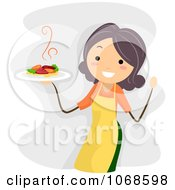 Clipart Happy Woman Holding A Plate Royalty Free Vector Illustration