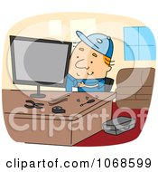 Clipart Computer Repair Guy Royalty Free Vector Illustration