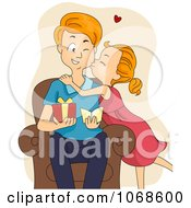 Clipart Girl Kissing Her Dad On The Cheek Royalty Free Vector Illustration