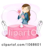 Clipart Girl Setting Flowers On A Table Royalty Free Vector Illustration