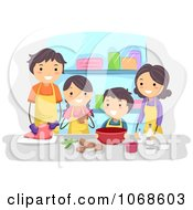 Clipart Family Cooking Together Royalty Free Vector Illustration by BNP Design Studio