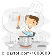 Clipart Chef Stirring Soup Royalty Free Vector Illustration