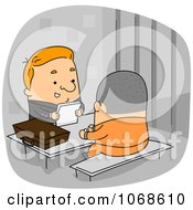 Clipart Lawyer Speaking To A Prisoner Inmate Royalty Free Vector Illustration