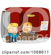 Clipart Receptionist Assisting A Man Royalty Free Vector Illustration