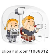 Clipart Film Director And Movie Assistant Royalty Free Vector Illustration