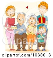 Clipart Happy Family Presenting Their Grandparents With Gifts Royalty Free Vector Illustration