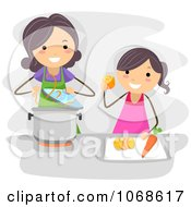 Clipart Mom And Daughter Cooking Royalty Free Vector Illustration