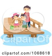 Clipart Dad Fishing With His Kids Royalty Free Vector Illustration