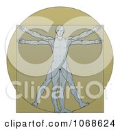 Clipart Vitruvian Man Over Tan Royalty Free Vector Illustration by AtStockIllustration