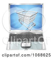 Clipart 3d Shopping Cart Emerging From A Laptop Screen Royalty Free Vector Illustration