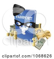 Clipart 3d Stolen Passport With Money A Mask And Hat Royalty Free Vector Illustration by AtStockIllustration