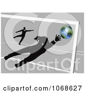 Clipart Businessman Goalie Leaping For A Soccer Ball Royalty Free Vector Illustration