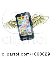Clipart 3d Winged Cell Phone Royalty Free Vector Illustration