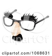 Clipart 3d Moustache Eyebrows And Glasses Disguise Royalty Free Vector Illustration by AtStockIllustration