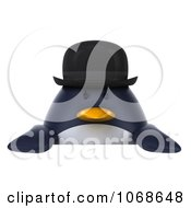 Clipart 3d Gentleman Penguin With A Sign 1 Royalty Free CGI Illustration