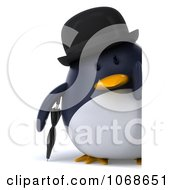 Clipart 3d Gentleman Penguin With A Sign 2 Royalty Free CGI Illustration