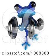 3d Blue Springer Frog Lifting Weights 3