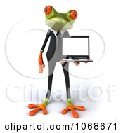 Clipart 3d Springer Frog Holding A Laptop 1 Royalty Free CGI Illustration