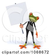 Clipart 3d Springer Frog In A Tux With A Sign 1 Royalty Free CGI Illustration