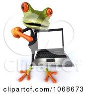 Clipart 3d Springer Frog Holding A Laptop 3 Royalty Free CGI Illustration
